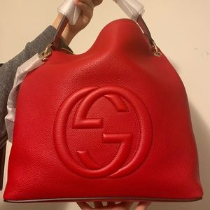 Soho with Detachable straps red Gucci Hobo